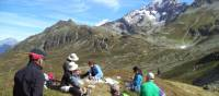 Hikers taking a rest and absorbing the incredible views around Mont Blanc | Kerren Knighton