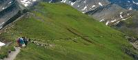 The steep descent from the Grand Col Ferret; the pass linking the Swiss and Italian section of the Mont Blanc Circuit | Sue Badyari