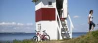 Cycling along the coast in Denmark