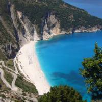 Myrtos beach on the island of Cephalonia, Greece