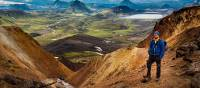 A hiker on the Laugavegur Trail in Iceland