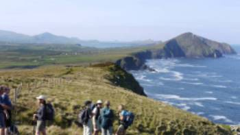 Hikers by the ocean, Dingle Peninsula
