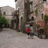 A typical village on the Via Francigena between Siena and Rome