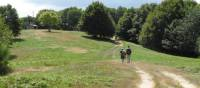 Walkers on the route from La Verna to Caprese Michelangelo