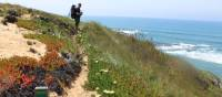 Hiker on the Rota Vicentina in western Portugal
