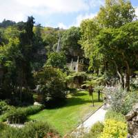 Exploring La Regaleira Garden in an estate near the historic center of Sintra, Portugal