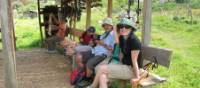 Walkers resting at a shepherds hut | Kate Baker