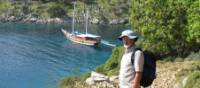 Hiker taking in the view of the Lycian Coast | Kate Baker