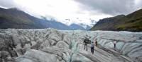 Walking on a glacier in Iceland