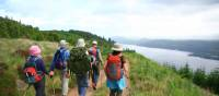 Hikers high above Loch Ness
