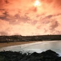 Beautiful sunset over Porthmeor Beach, St Ives