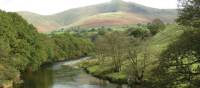 The River Lune looking towards the Howgill Fells.
