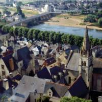 The town of Chinon on the Loire River