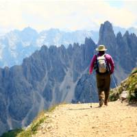 Heading towards the Auronzo Hut in the Dolomites