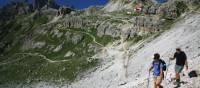 Traversing across the side of Mount Paternkofel