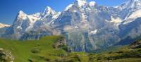 Eiger, Monch and Jungfrau going up to the Sefinenfurke Pass
